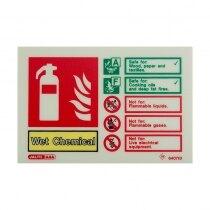 Landscape Photoluminescent Wet Chemical Extinguisher ID Sign