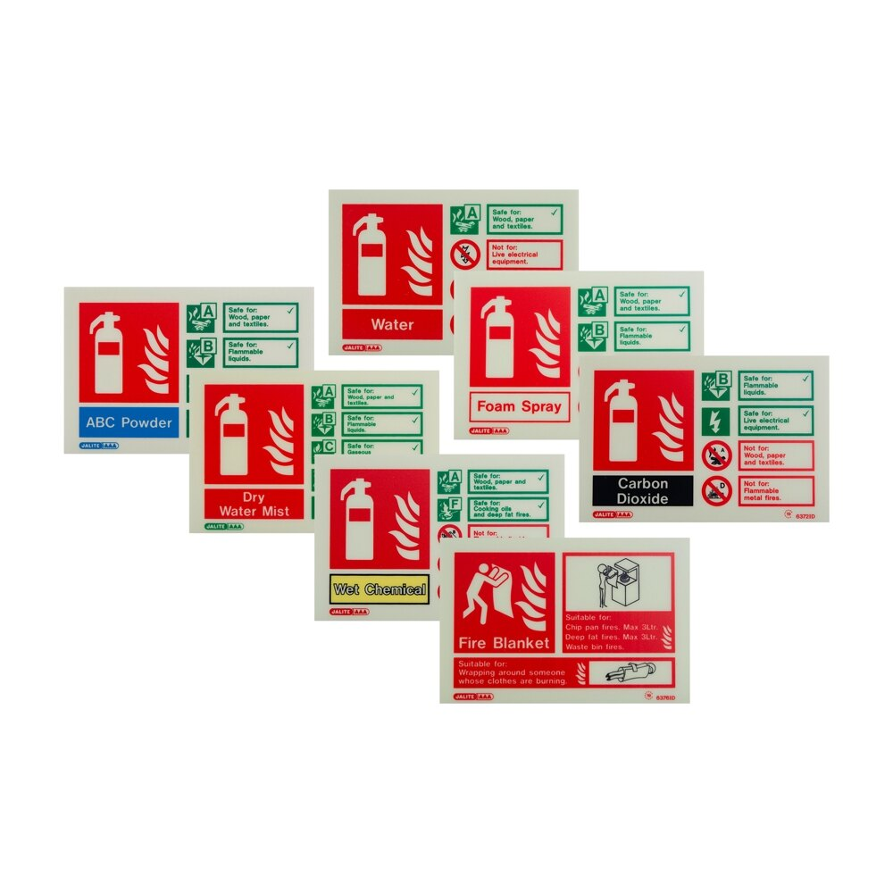 Landscape Photoluminescent Fire Extinguisher ID Signs