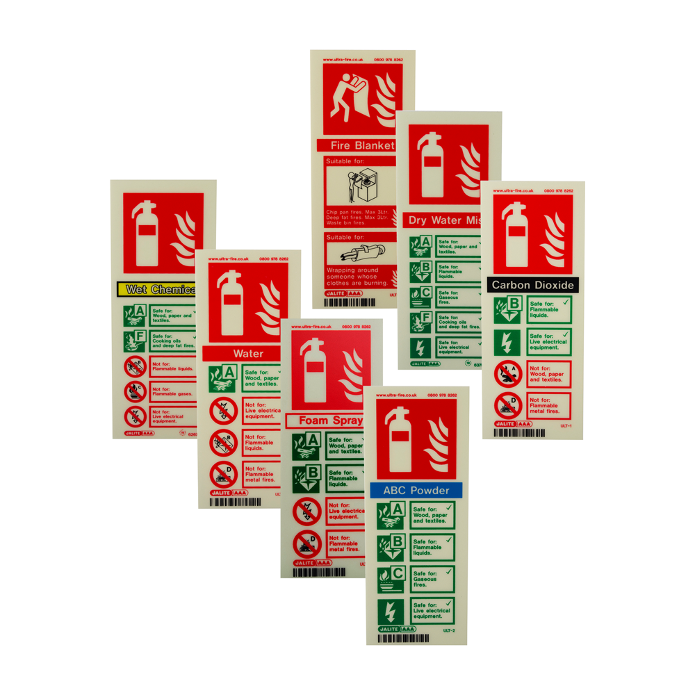 Portrait Photoluminescent Fire Extinguisher ID Signs