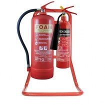 Contemporary stand design suitable to hold two fire extinguishers