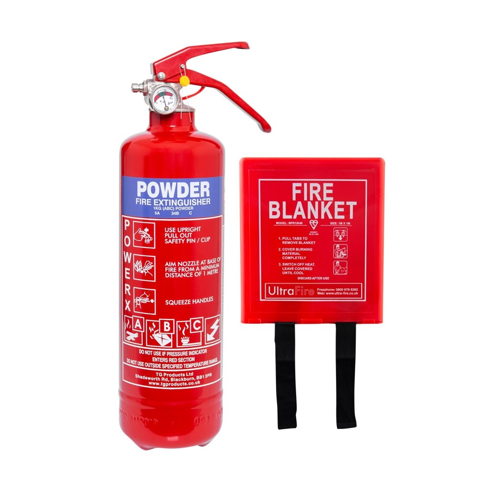 1kg Powder Fire Extinguisher + Fire Blanket Special Offer