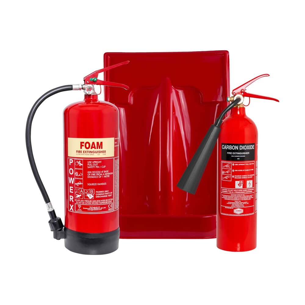2kg CO2 Extinguisher, 6ltr Foam Extinguisher + Double Stand Special Offer
