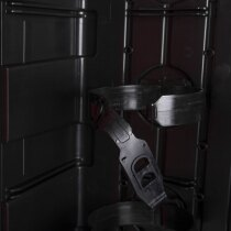 Two strong, elastic PVC straps hold the extinguisher in place inside the cabinet