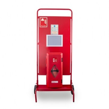 Image of the Site Stand with Single Extinguisher Cabinet and Optional Site Alarm