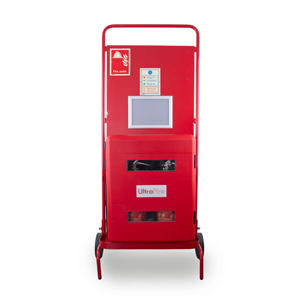Image of the Site Stand with Double Extinguisher Cabinet and Optional Interconnectable Site Alarm