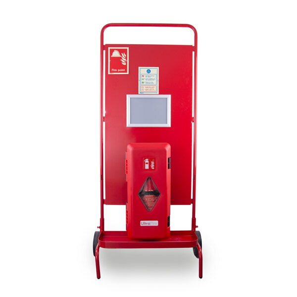 Image of the Site Stand with Single Extinguisher Cabinet and Optional Interconnectable Site Alarm