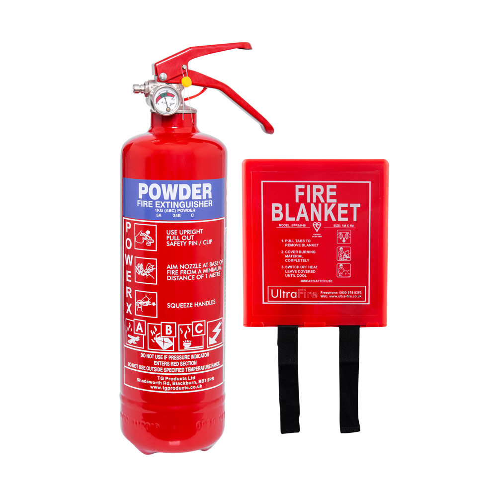 Image of the 1kg Powder Fire Extinguisher + Fire Blanket Special Offer